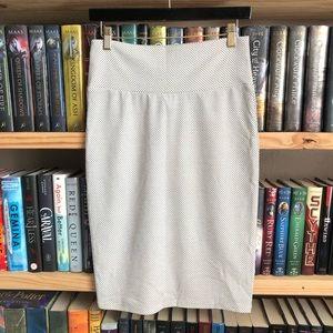 LuLaRoe White Black Polka Dot Cassie Pencil Skirt